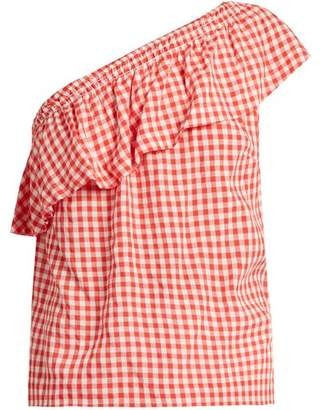 Velvet by Graham & Spencer Haley One Shoulder Gingham Top - Womens - Red White