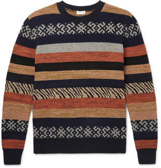 Dries Van Noten Striped Intarsia Wool, Cashmere And Cotton-Blend Sweater