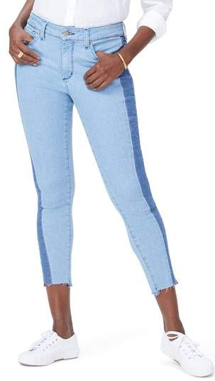 Ami Stretch Ankle Skinny Contrast Step Hem Jeans