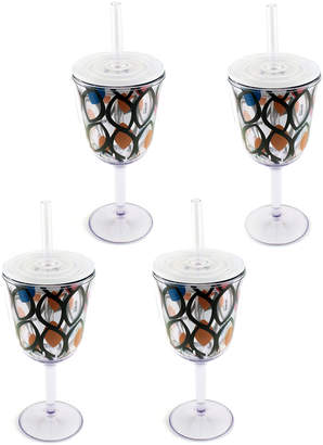 Berghoff Lidded Acrylic Wine Tumbler Glasses with Straws, Set of 4