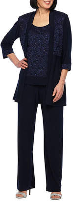 R & M Richards R&M Richards 3/4 Sleeve Lace Jacket Pant Suit Set