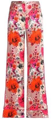 Roberto Cavalli Floral-Print Silk-Satin Wide-Leg Pants