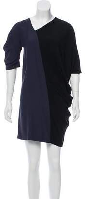 Zero Maria Cornejo Colorblock Asymmetrical Neck Dress