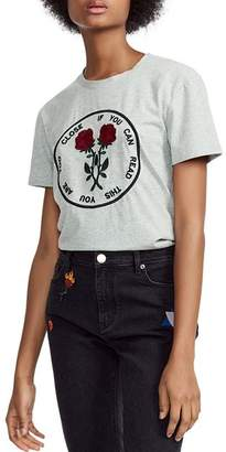 Maje Tomboucto If You Can Read This You Are Too Close Embroidered Graphic Tee