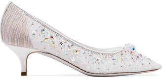 Rene Caovilla Crystal-embellished Leather-trimmed Lace Pumps - White
