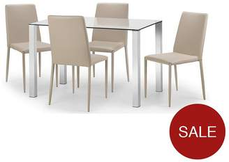 Camilla And Marc Julian Bowen Enzo 120 Cm Glass And Chrome Dining Table + 4 Faux Leather Chairs - Stone