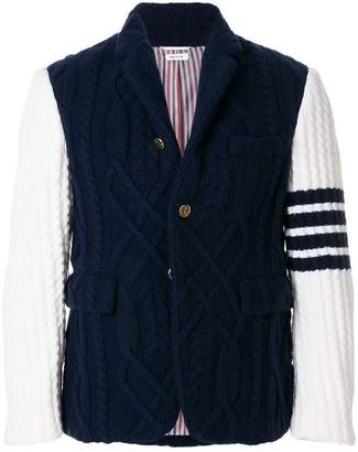 Thom Browne 4-Bar Stripe Aran Cable Cashmere Sport Coat