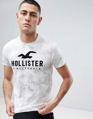 Hollister Iconic Applique Logo Acid Wash T-Shirt in White