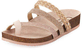 Sam Edelman Oakley Metallic/Glitter Toe-Ring Leather Sandal