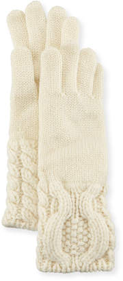 Neiman Marcus Il Borgo Cashmere Knit Cable-Cuff Gloves, Cream