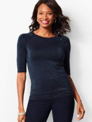 Talbots Button-Shoulder Shimmer Sweater