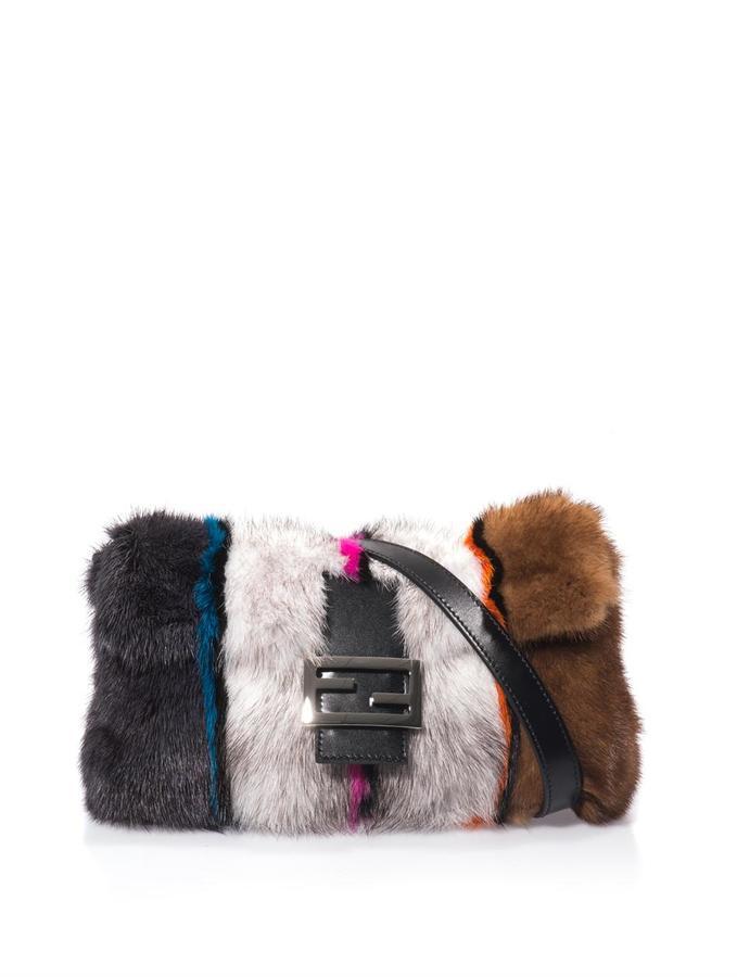 Fendi Baguette mink and fox fur bag