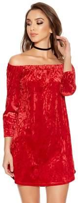 Quiz Red Velvet 3/4 Tie Sleeve Tunic