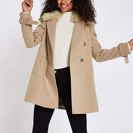 Womens Camel faux fur trim coat