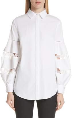 Lela Rose Wave Trim Stretch Poplin Shirt