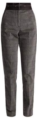 MSGM Prince Of Wales Check Brushed Velvet Trousers - Womens - Grey