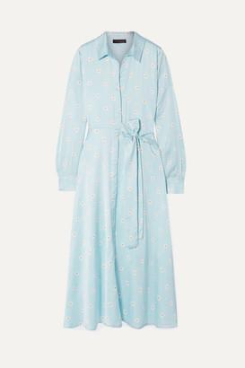 Stine Goya Baily Belted Floral-print Satin Dress - Sky blue