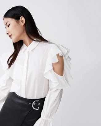 Express Cut-Out Ruffle Button-Up Shirt