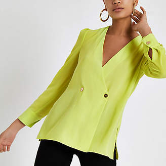 River Island Womens Bright Green button detail blouse