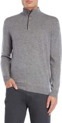 Forte Cashmere Mock Neck Button Cashmere Sweater