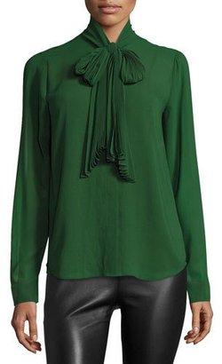 MICHAEL Michael Kors Pleated Tie-Neck Blouse $110 thestylecure.com