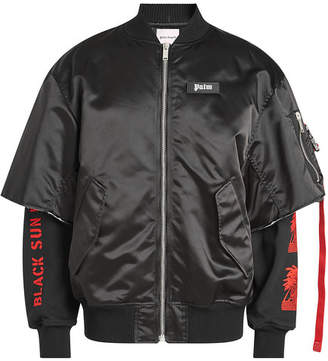 Palm Angels Prayer Bomber Jacket in Satin and Cotton