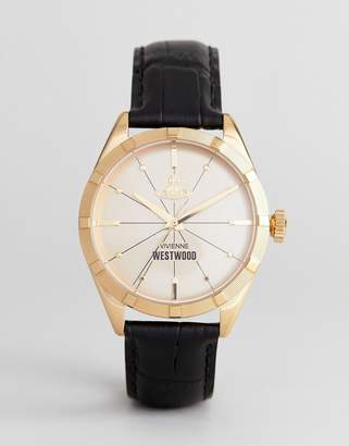 Vivienne Westwood VV195GDBK Conduit Leather Watch In Black