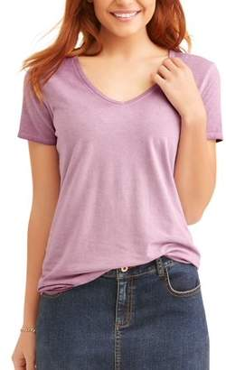 Time and Tru Women's Elevated Short Sleeve V-Neck T-Shirt