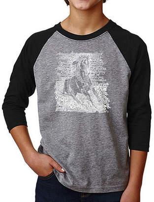 LOS ANGELES POP ART Los Angeles Pop Art Boy's Raglan Baseball Word Art T-shirt - POPULAR HORSE BREEDS