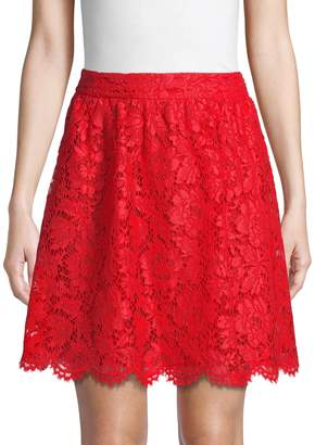 Valentino Floral Lace Cotton Blend Skirt