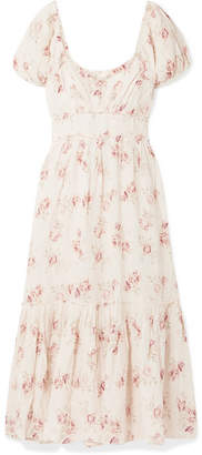LoveShackFancy Angie Gathered Floral-print Linen Maxi Dress - Cream