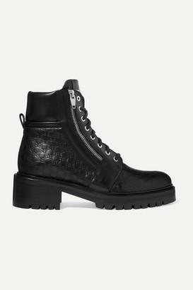 Balmain Ranger Logo-debossed Leather Ankle Boots - Black