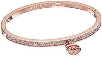 Michael Kors Steel & Pavé Padlock Hinged Bracelet
