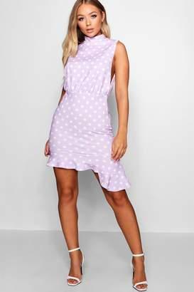 boohoo High Neck Frill Hem Polka Dot Dress