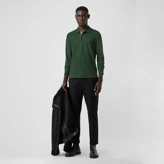 Burberry Long-sleeve Monogram Motif Cotton Piqué Polo Shirt