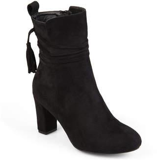 Journee Collection Womens Zuri Booties Block Heel Zip