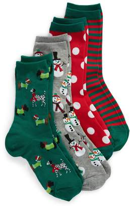 Hot Sox 4-Pack Holiday Snowmen 4-Pack Socks