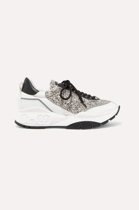 Jimmy Choo Raine Glittered And Smooth Leather Sneakers - Silver