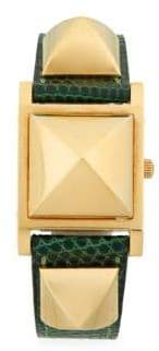 Vintage Pyramid Cover Lizard Leather Strap Watch