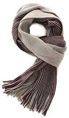 Fancy Stitch Women/Men's Winter Color Block Rib Stripe Knitted Wool Scarf