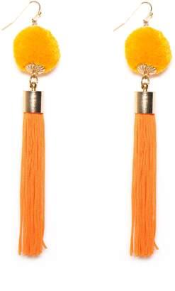 Missy Empire Missyempire Ella Orange Pom Pom Tassel Earrings