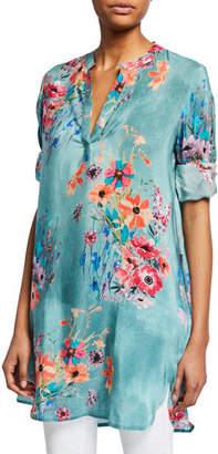 6fb49cfba74 Tolani Plus Size Skylar Floral-Print V-Neck Long-Sleeve Tunic