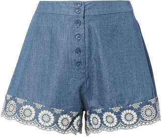 Nightcap Clothing Lace Trim Chambray Shorts