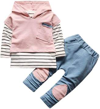 Festwolf KateWolf Kids Baby Boy Girls Outfits Hooded Stripe T-shirt Tops+Pants Clothes Set