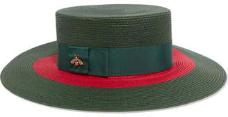 Gucci Embellished Grosgrain-trimmed Straw Hat - Green