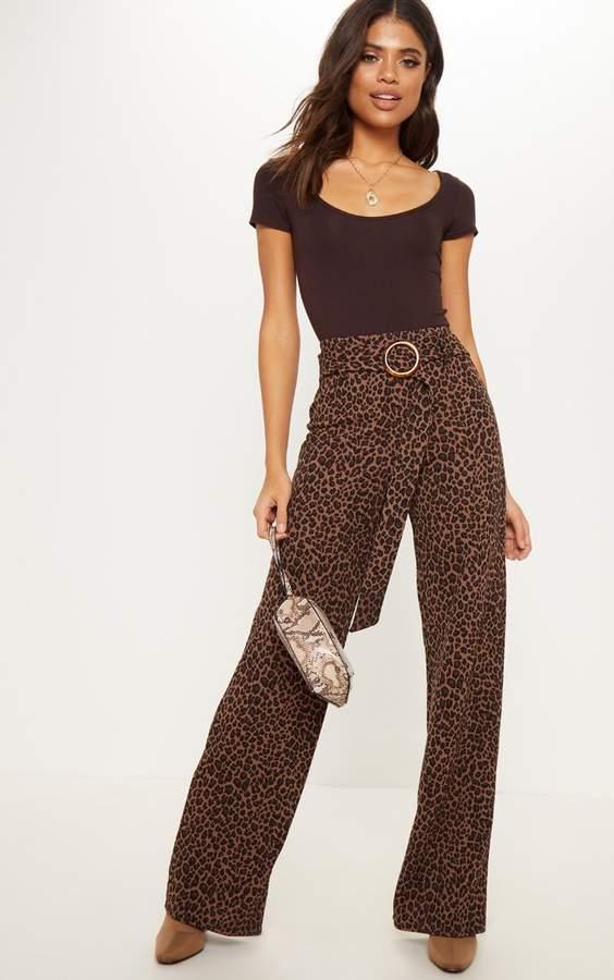 Leopard Print Tortoise Shell Belted Waist Wide Leg Trouser