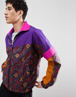 Asos DESIGN Windbreaker Track Jacket In Purple Print