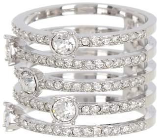 Swarovski Rhodium-Plated Pave & Bezel Crystal Coil Ring - Size 6