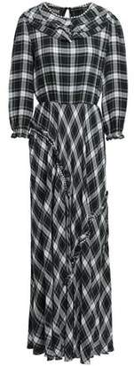 Moschino Crystal-embellished Checked Crepe Maxi Dress