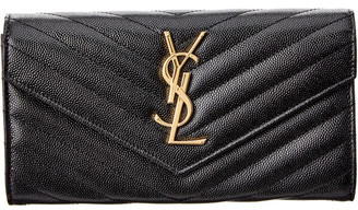 Saint Laurent Monogram Matelasse Leather Flap Wallet